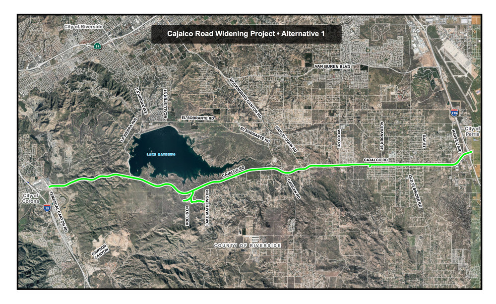 Alternative 1 - Widen Existing Cajalco Road from Temescal Canyon Road to I-215 including Minor Alignment Changes between Temescal Canyon Road and Gustin Road