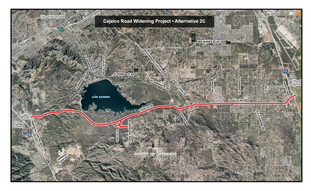 Alternative 2C - Widen Existing Cajalco Road between Temescal Canyon Road and from just west of Lake Mathews Drive to Interstate 215; Construct New Segment of Cajalco Road between La Sierra Avenue and just west of Lake Mathews Drive