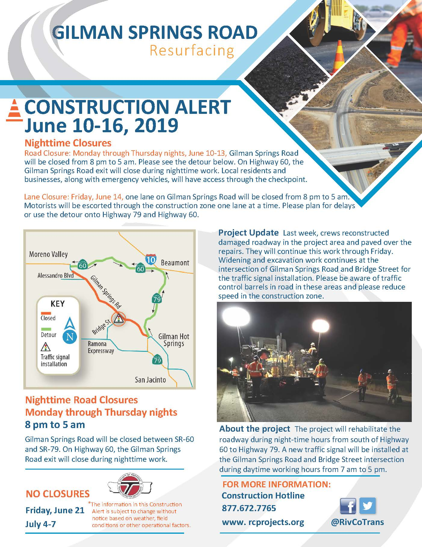 Construction Alert June 10-13, 2019: Gilman Springs Road Resurfacing