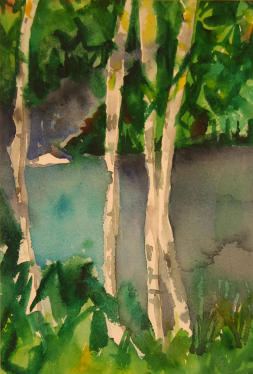 "Canadian Birches Watercolor 7"" x 10"""
