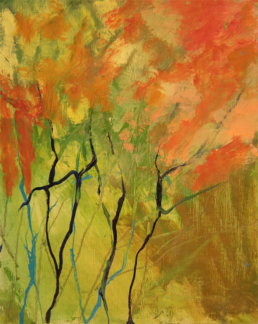 "Jamaica Flame Tree I Oil 8"" x 10"""