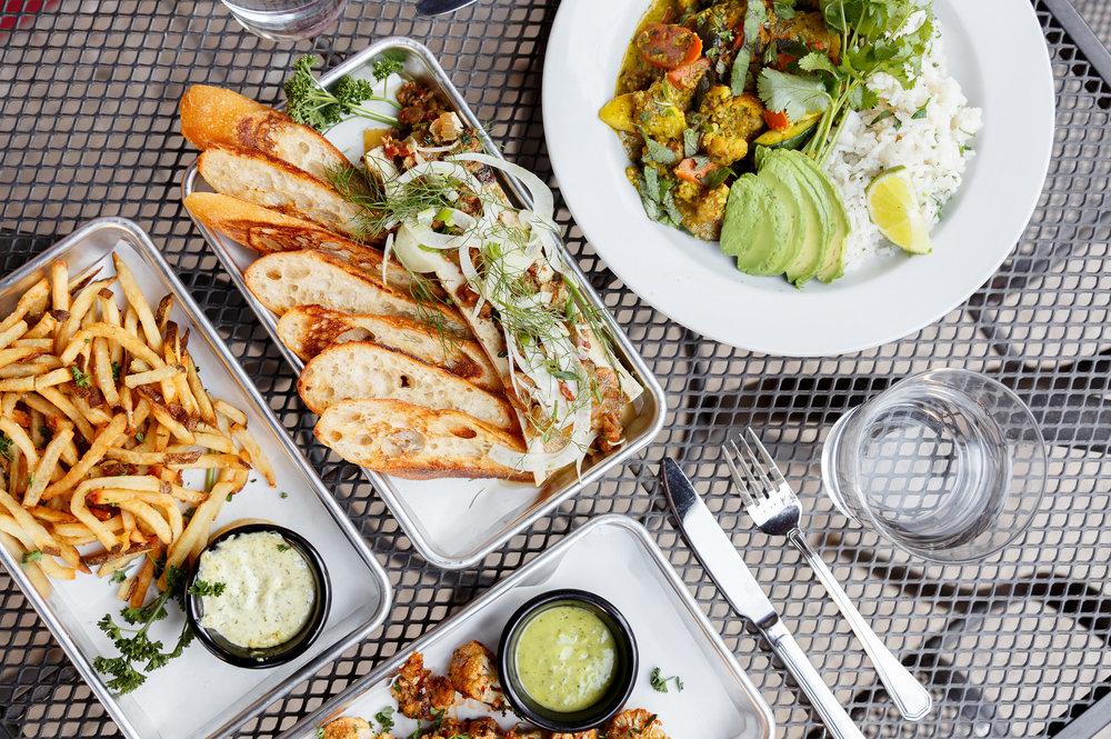 Range Fries, Bone Marrow, Vegan Hemp Seed & Avocado Curry