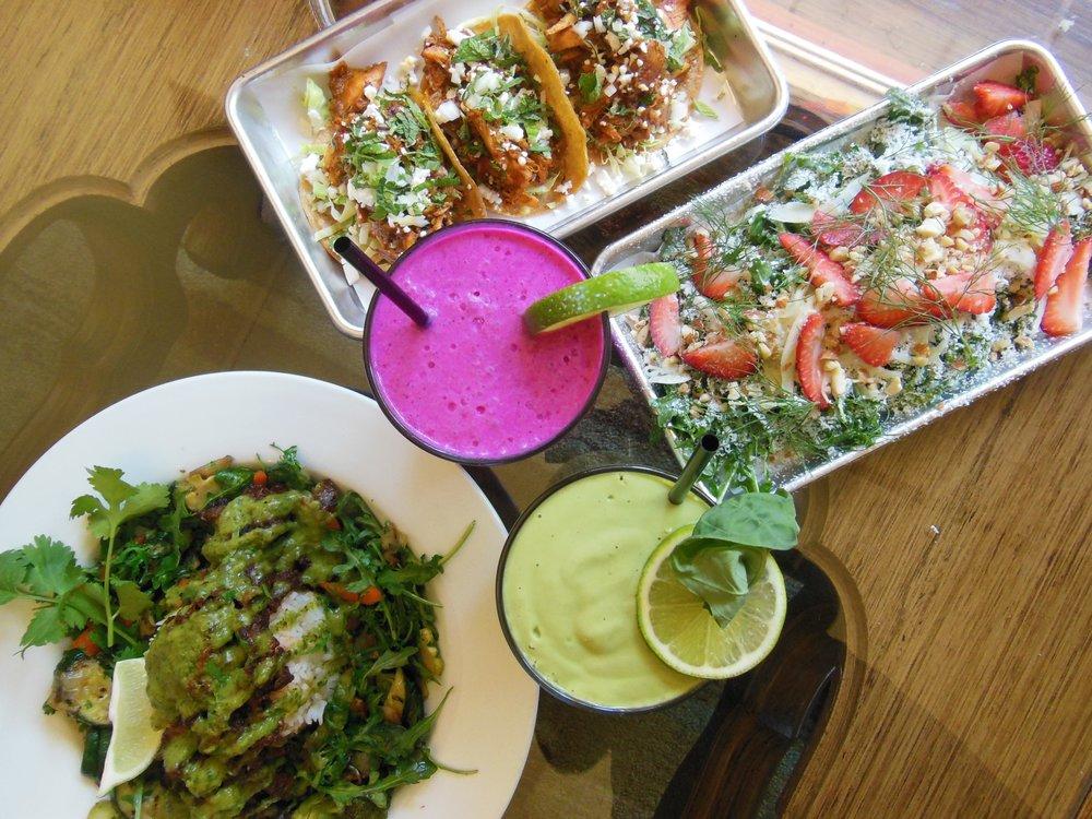 Pina Pitaya Smoothie (pink)  Bas-A-Loupe Smoothie (green)  Vegan Power Bowl  Chicken Tacos