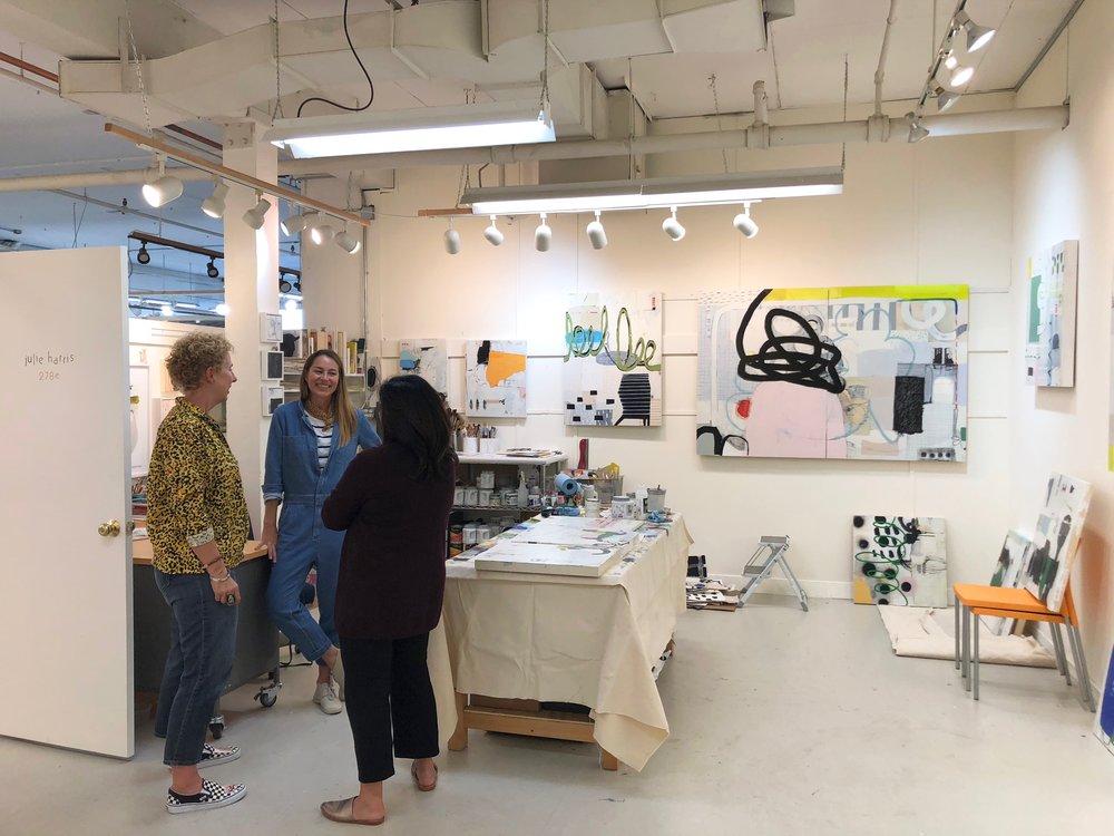 A corner of Julie Harris' studio, and Julie in the center. Hi Julie!