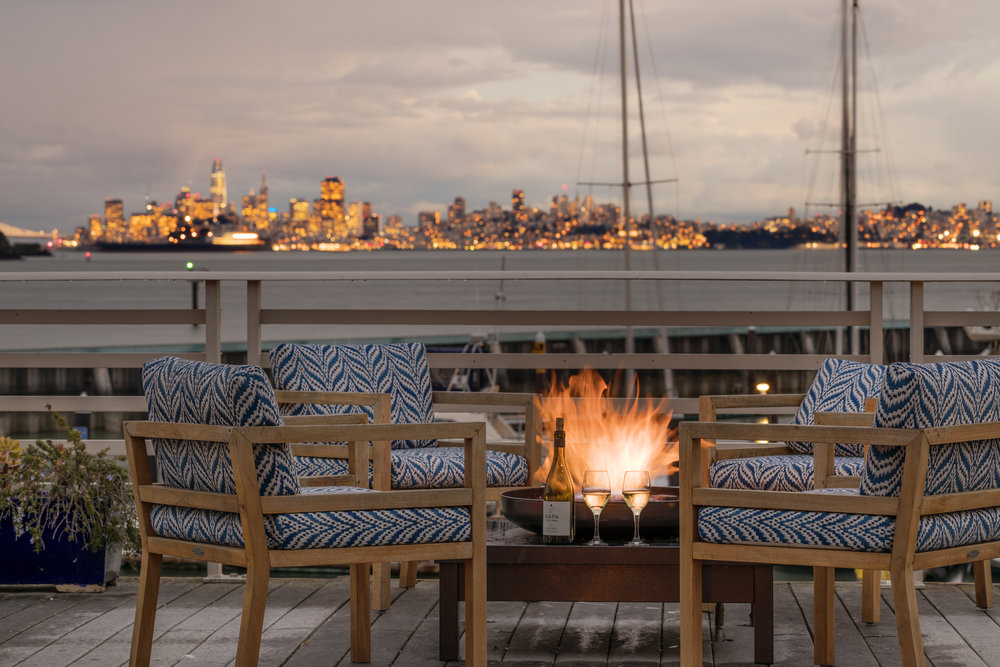 Waters Edge Hotel in Tiburon: the Grand View Deck is a romance central.