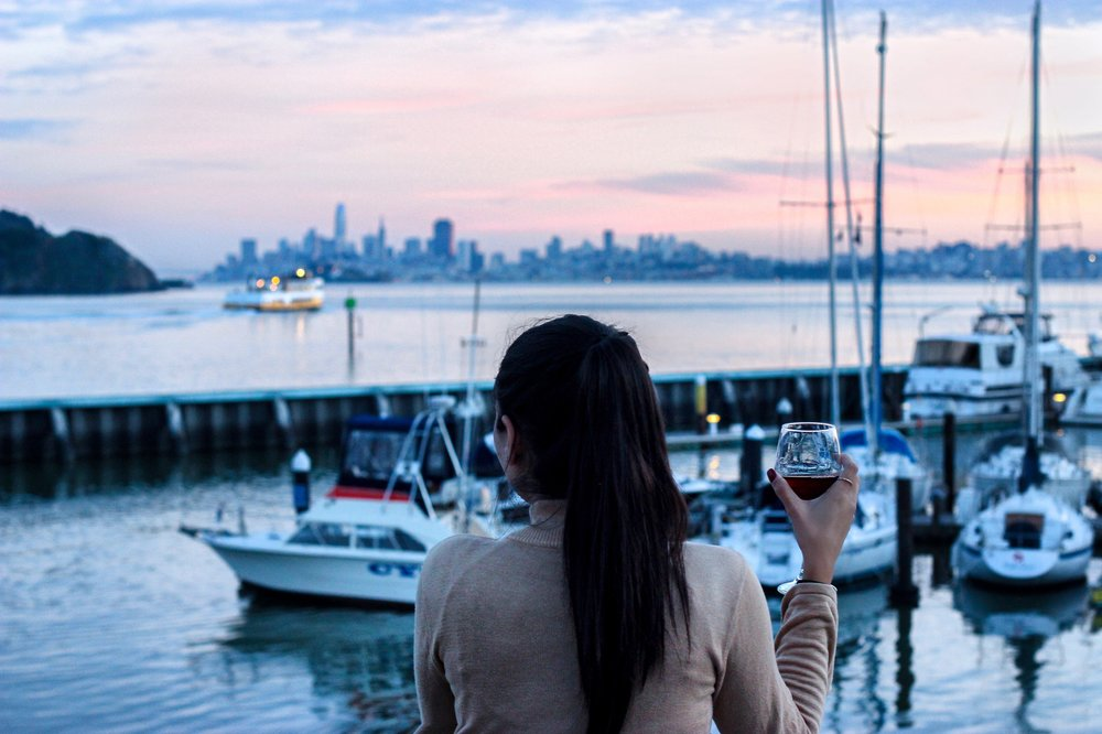 The view of San Francisco skyline from the Waterfront Deck at Waters Edge Hotel is mesmerizing.