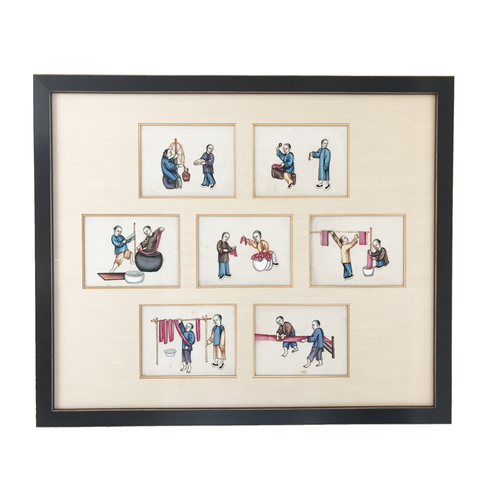 222db1054b6fa 19th Century Chinese Export Paintings on Pith Paper, Series of 7, Custom  Framed