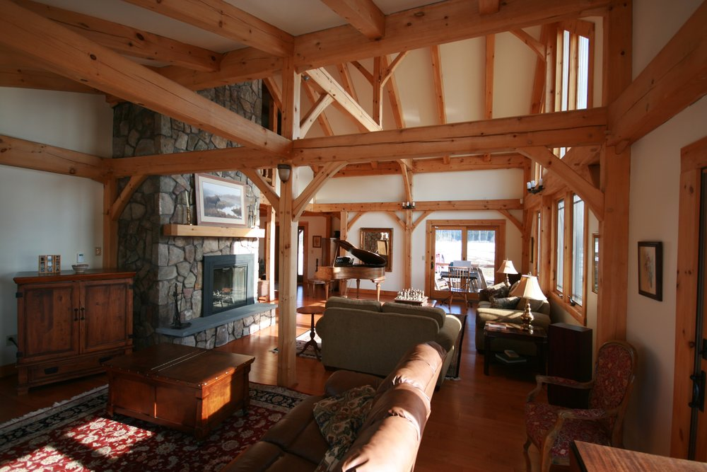High-vaulted ceilings expose the bones of the house.