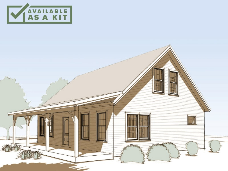 The Strafford - 3 Bedrooms, 2 Baths, 1,600 sq ft(Footprint: 28' X 36')A classic cape-style farmhouse with the open feel of modern timber frame architecture. Simplicity when you want it, with ample space to expand when family's in town.Details