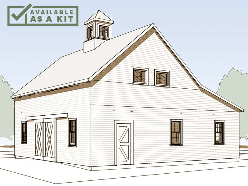 The Adams - 24'x36', 2,226 sq ftThis two-story barn is complete with sliding doors, a cupola, and a full-length shed for added space. The Adams is a 24' x 36' barn with a 12-foot lean-to tractor shed. Or, left open, the shed can become a drive-through tractor bay.Details