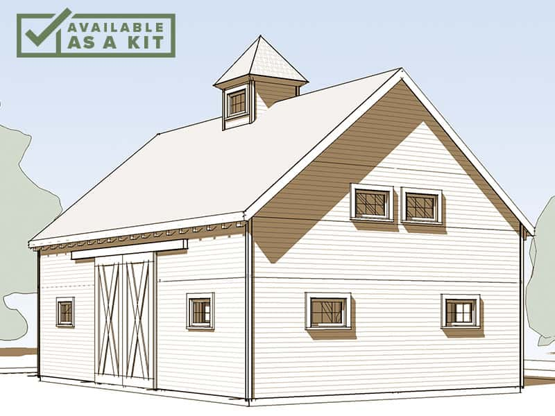 The Jefferson - 24' X 36', 1,618 sq ftA classic barn silhouette, including a cupola! This nicely proportioned 24' x 36', 1-1/2 story barn is equipped with large rolling doors, perfect for farm equipment or mounted riders. The loft provides storage for hay or tools, or a place to work out.Details
