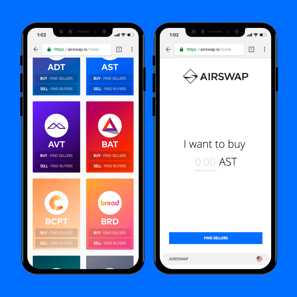 IN YOUR POCKET   Using an Ethereum wallet makes it easy to make trades on the go. When we announced #airswapgo we decided to build for mobile out of the box. Try it today using a mobile wallet like  Trust Wallet . If you're an Ethereum wallet developer, we'd love to collaborate. Reach us at  partner@airswap.io .