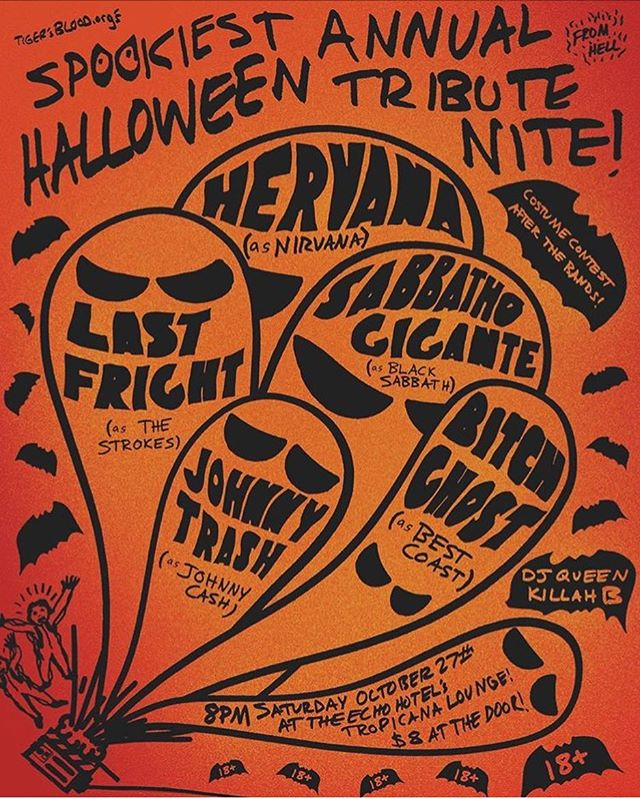 Tonight at the Echo Hotel's Tropicana Lounge!  1/2 of Good Ghost will be performing as Hervana, a Nirvana tribute band, along with members of #slowattack and @fantastico956 ! Come  hang out and be spooky! 👻
