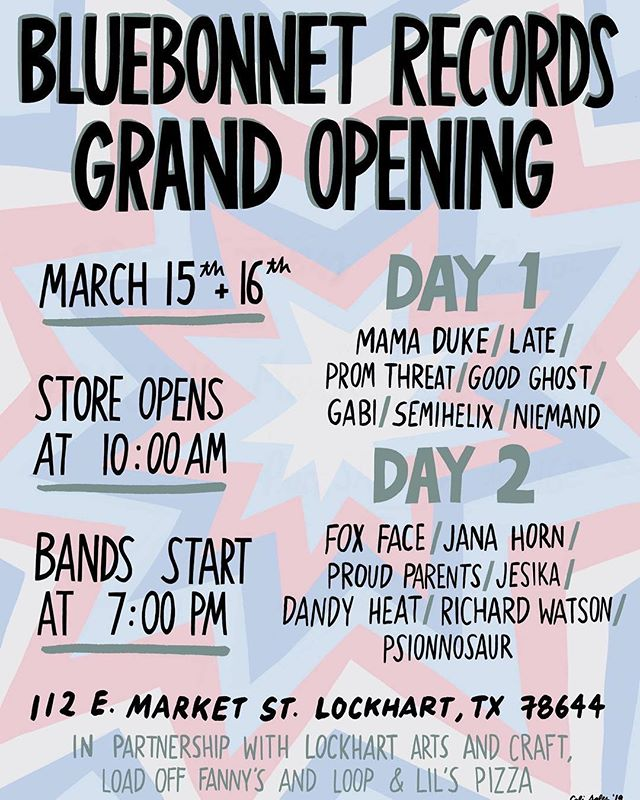 Hey, San Antonio/Austin area friends! We are are playing the opening of Blue Bonnet Records in Lockhart, TX on Friday at 7pm!! We are so excited to be a part of it.