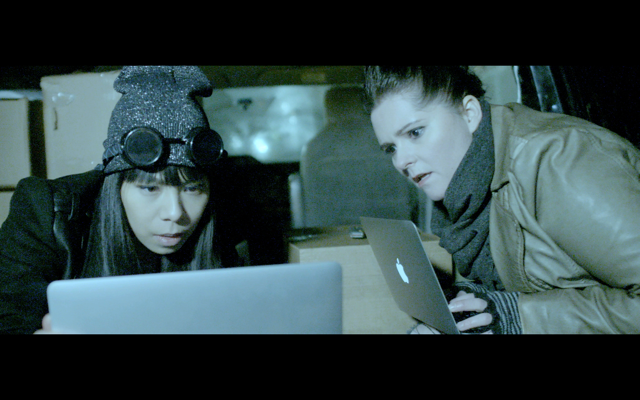 Esther Chen and Lenore Marks shoot on location for The Resistance