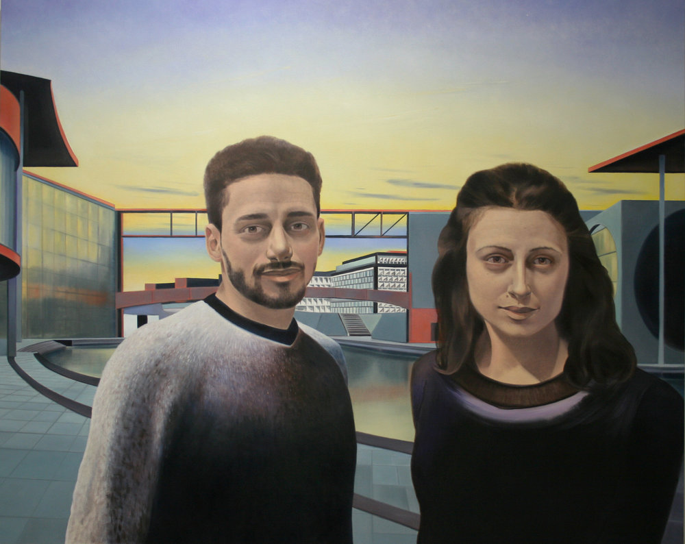 "Hussam and Zoya (Government District, Berlin), 48"" x 60"", oil and pencil on canvas, 2018"