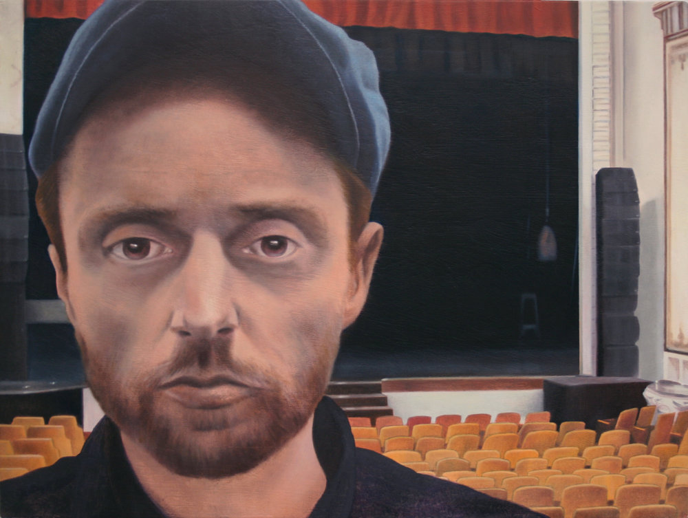 "Hunter (Paramount Theater, Rutland), 12"" x 15.5"", oil on panel, 2017"