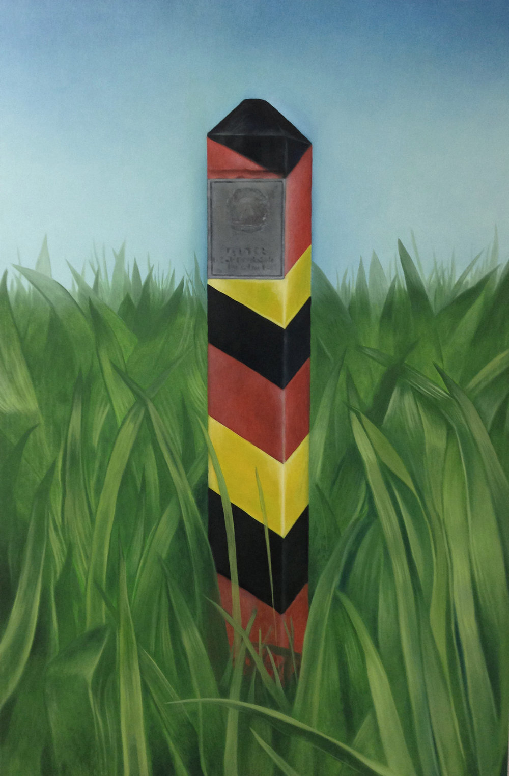 "Border Marker, 36"" x 24"", oil on panel, 2016"