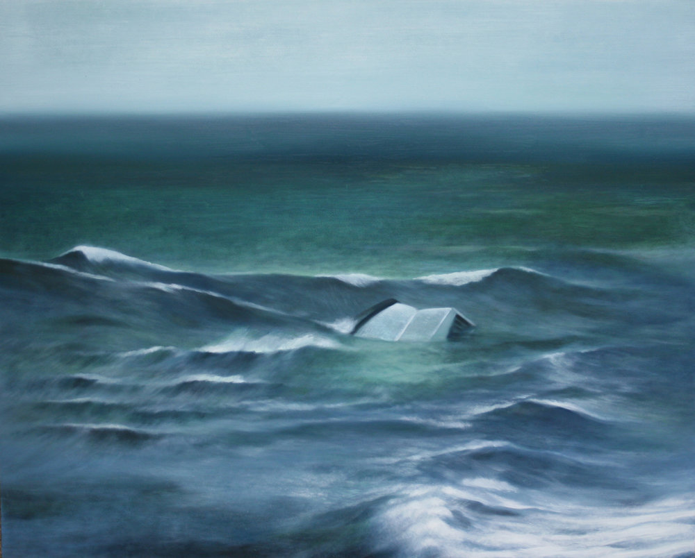 "We Have Stories Bigger Than the Sea, 30"" x 24"", oil on panel, 2015"