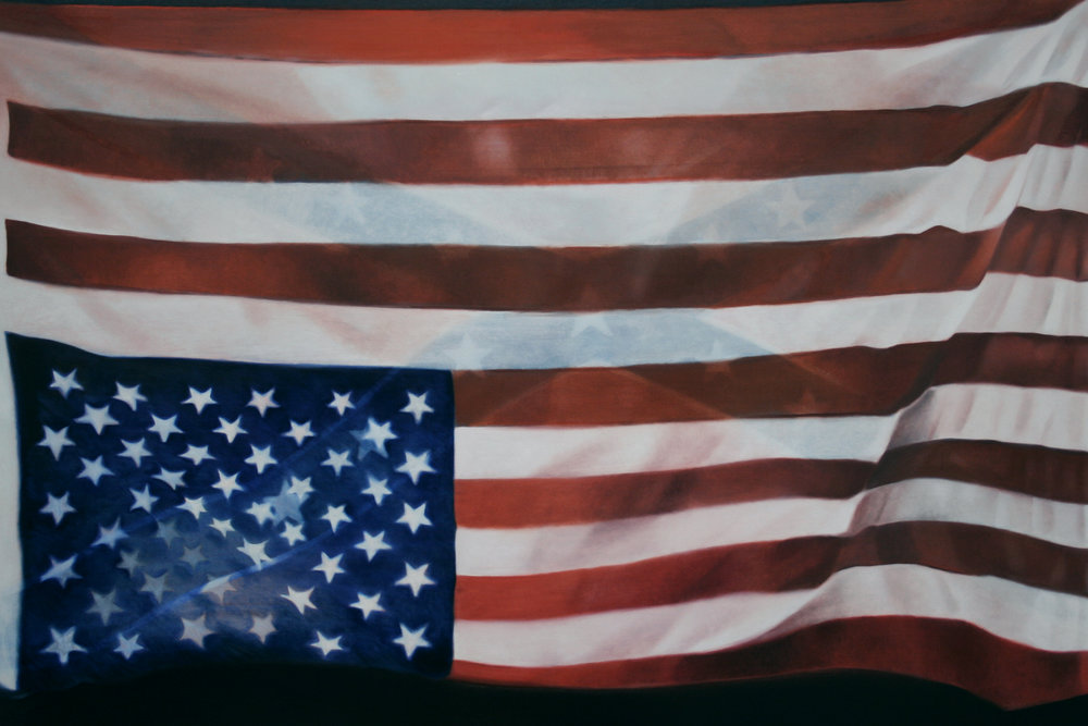 "One Flag (Ferguson), 24"" x 36"", oil on panel, 2015"