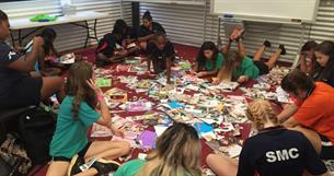 The girls making inspirational posters during their Empowerment Session with Tonii Skeen