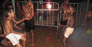 The children of Fitzroy Crossing dance to the music while enjoying a swim at the Fitzroy Crossing Youth Club and Fair Game Holiday Program Pool Party.