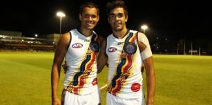 AFL players from the Kimberley at the recent Indigenous All Stars Match in Perth- Josh Hill of the West Coast Eagles (l) and Jack Martin of the Gold Coast Suns (r)