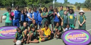 Kununurra St Joseph's and Wyndham St Joseph's students after the Netball Competition