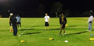 Michael Farmer teaches students the practical component of the Level One AFL Coaching Accreditation