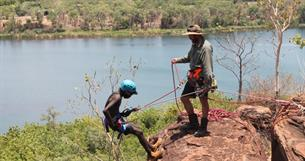 Abseiling above the Ord River