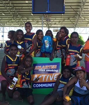 Wangkatjungka Students attending the Dockers Shield and Fever Cup carnival in Fitzroy Crossing.