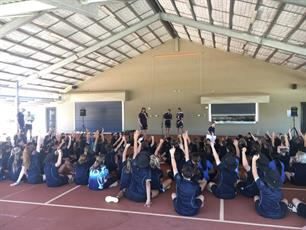 Tom Sheridan, Lachie Weller & Connor Blakely addressing the Broome North Primary School during their visit