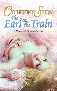 Cover image with author name in gold and The Earl on the Train in blue. Pink background with subtle white map details. A woman in a sleeveless pink dress lays on her back, right arm draped over her belly, left arm bent and grabbing a lock of her shortish blond hair.