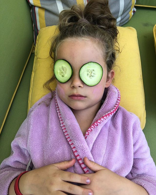 Guys, that first half day as a first grader was exhausting. Better have a home spa day to really take it down a notch.