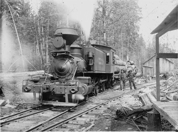 A locomotive belonging to the Hewitt and Lee logging company in Bellevue hauls a load of logs. (2002.147.004)