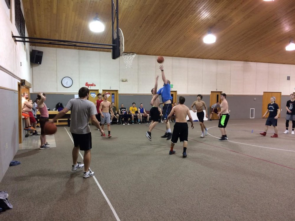 Men's Basketball - Every Monday night throughout the school year we meet in the Fellowship hall for five-on-five basketball. Games play to 21 points and then rotate players. Guys 16 years old and up can play. Games begin at 7pm and continue until 9pm. Talk with Pete Smith at church if you have any questions
