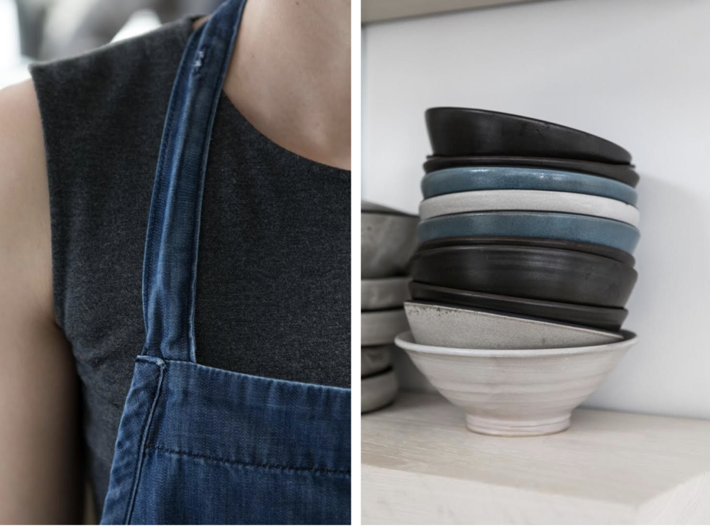 The staff's jeans and denim aprons are from  FRAME , which is next door to Destroyer. Above R: The restaurants ceramics are by  MATCH stoneware