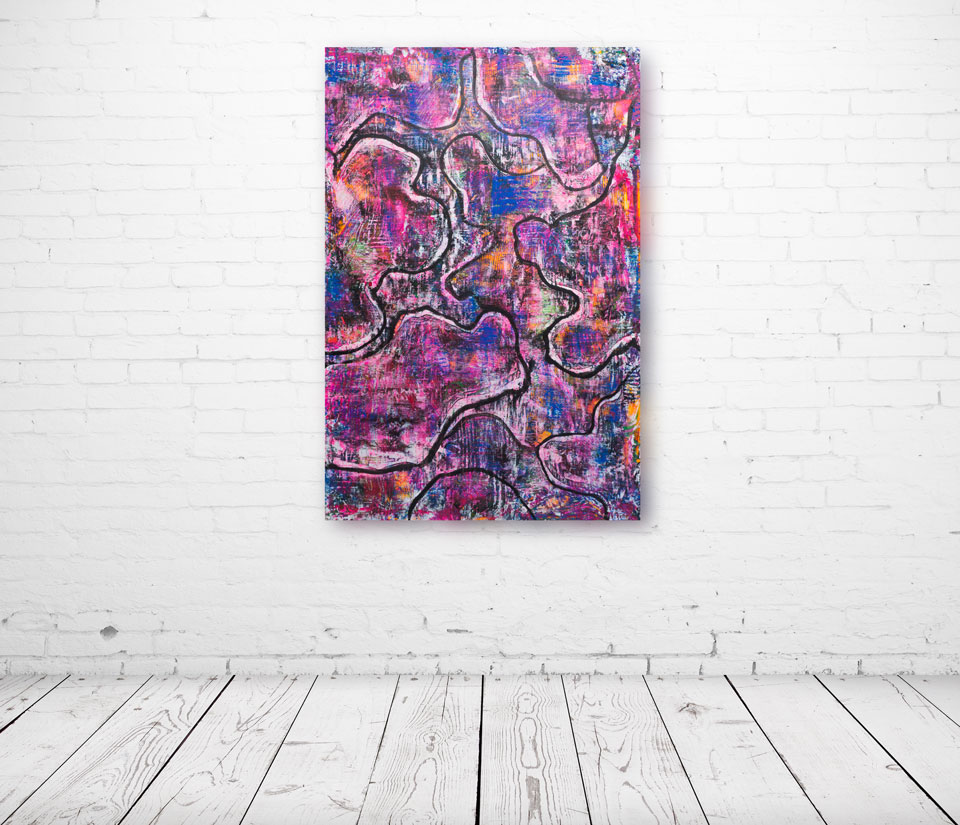 """Snake Skin"" Oil, Beeswax and Ultraviolet Pigments on Wood. 36""x 24""."
