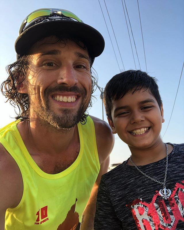 """After the race today Nischay told me """"Bobby I think you are a superhero and your power is your greatest smile in the world."""" Dude...this kid slays me"""