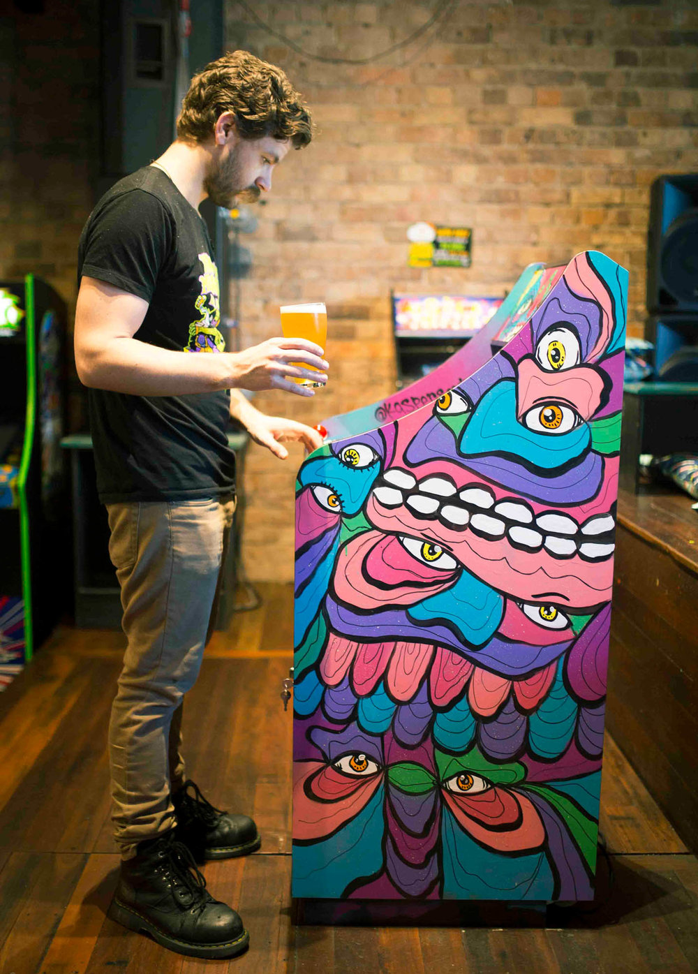 Fully Functioning Arcade Machine painted at Netherworld bar in collaboration with 4ZZZ