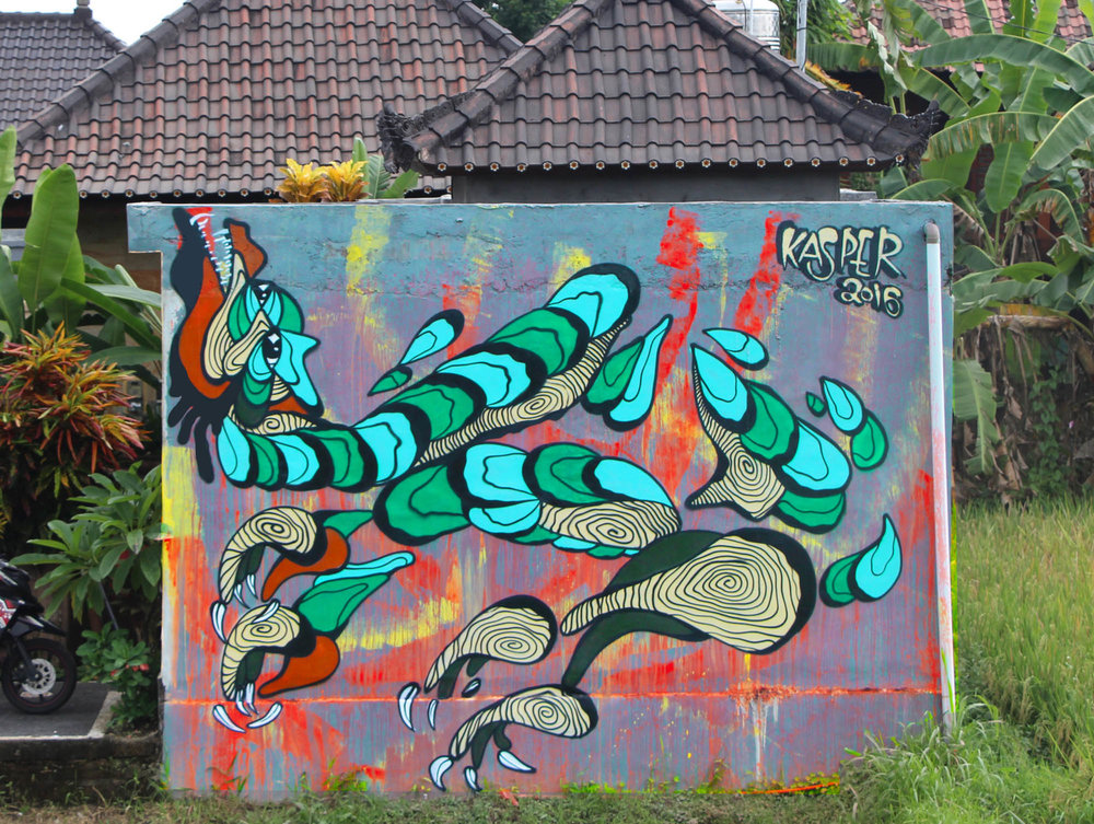 Mural painted in Bali, Indonesia on a external Villa wall in Ubud