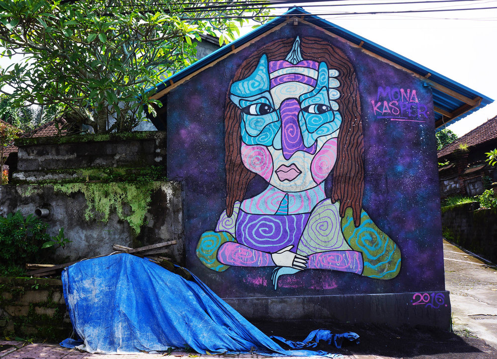 Kasper version of Mona Lisa painted in Ubud, Bali as a part of my artist residency with Cata Odata