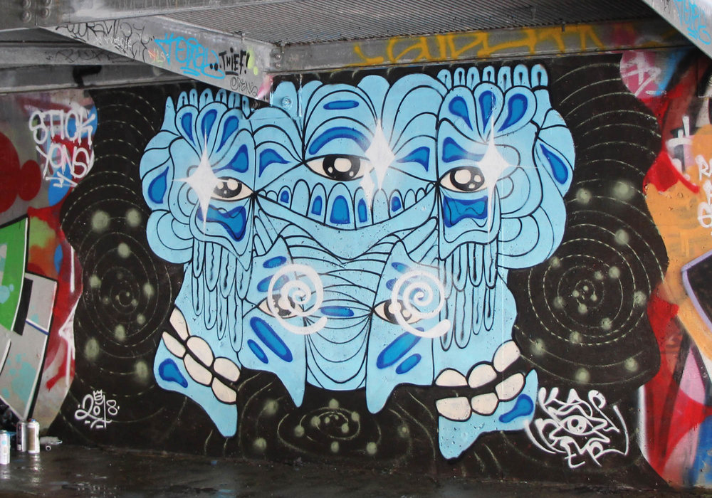 Mural painted in North Vancouver underneath a bridge