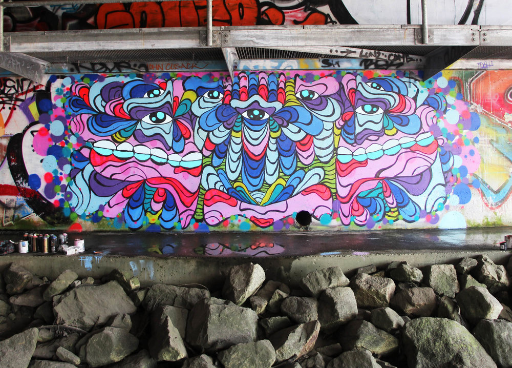 Vibrant Mural painted under a bridge in North Vancouver