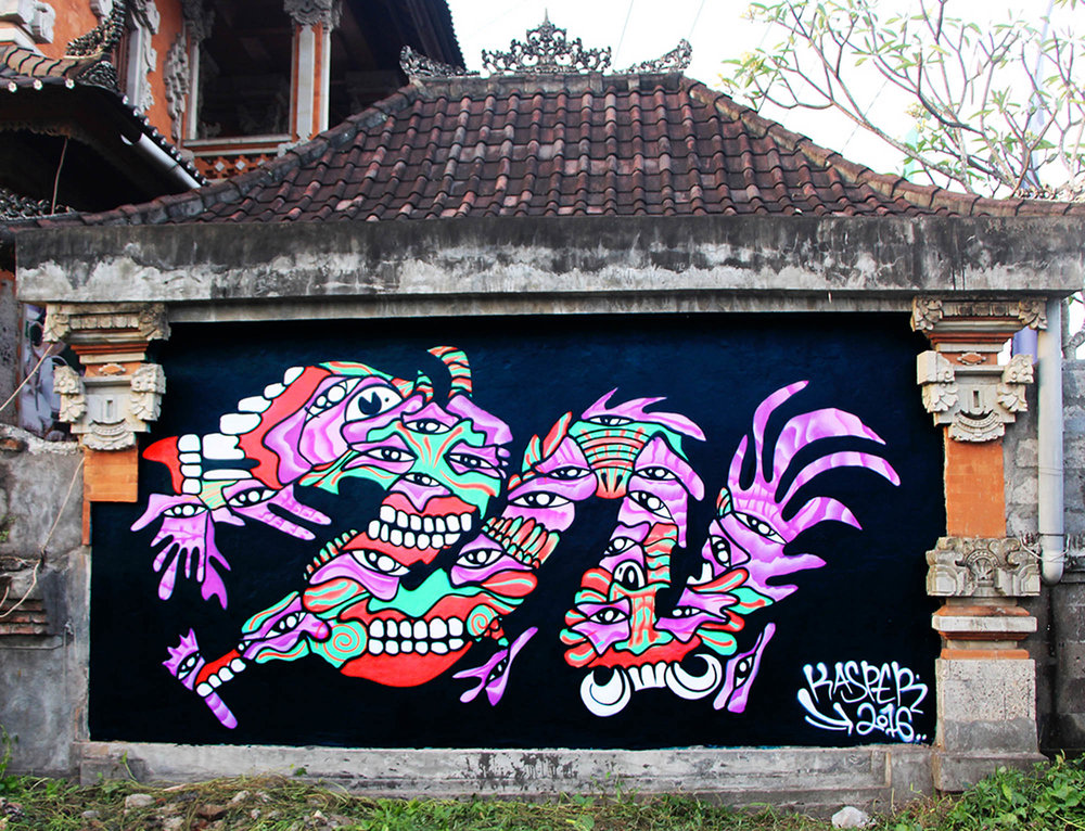 Mural painted in Bali, Indonesia on a local artists wall located in a prime location of Ubud