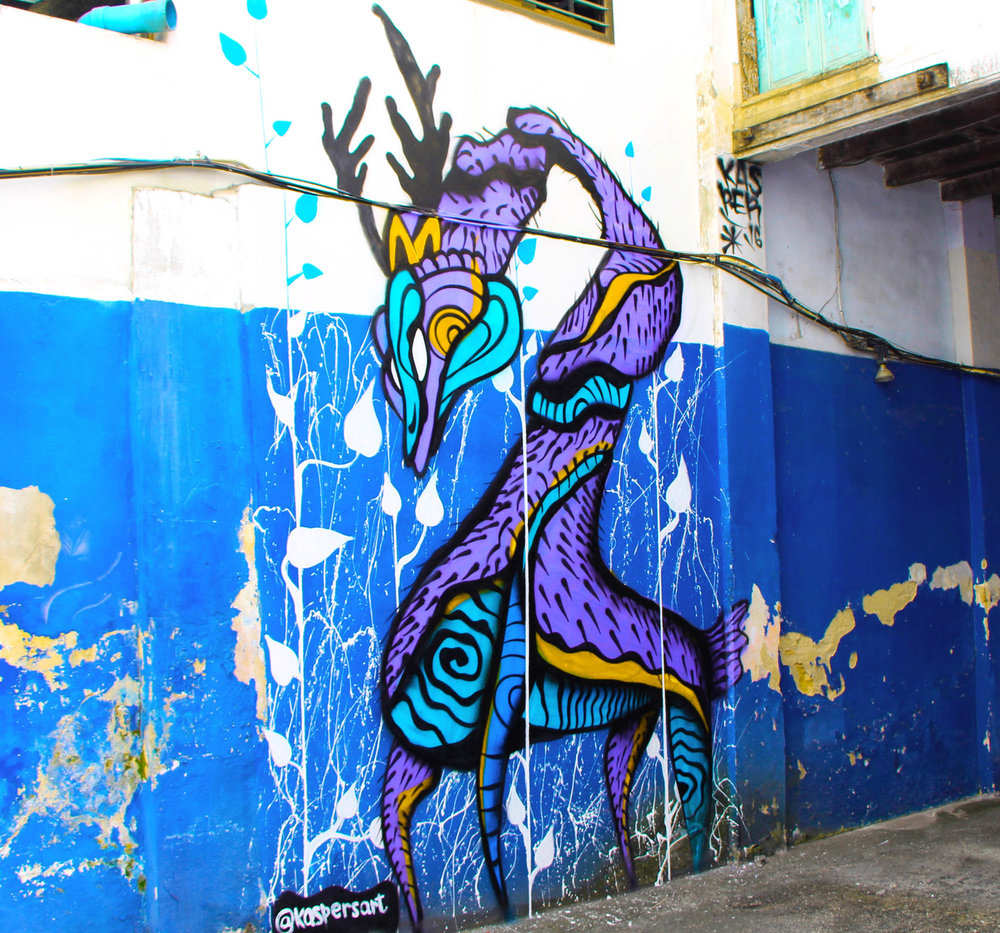 Mystic Dragon painted in the street of: Old Phuket, Thailand
