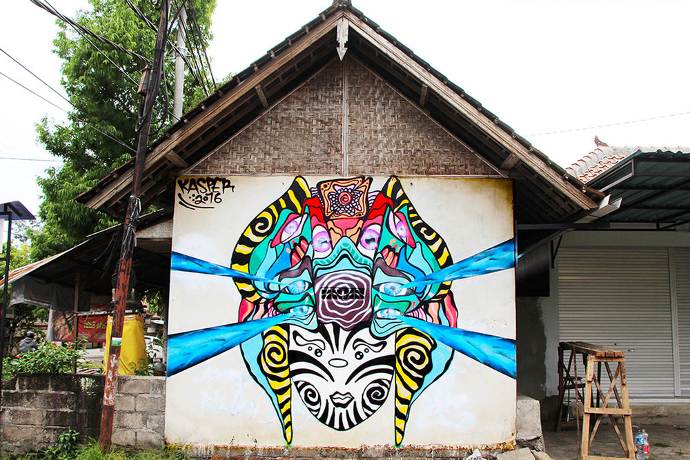"""Mural painted through the """"Way Up"""" Artist residency program in Ubud, Bali. Residency located at: Cata Odata"""