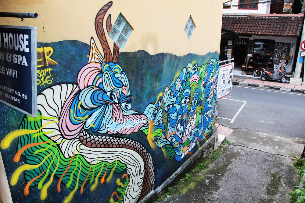 Fierce Dragon painted in Ubud, Bali as a part of my artist residency with Cata Odata