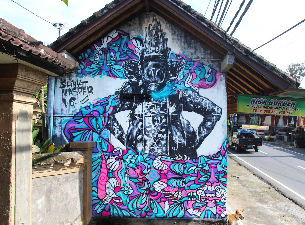 """Collaboration Mural with Slinat, painted through the """"Way Up"""" Artist residency program in Ubud, Bali. Residency located at: Cata Odata"""