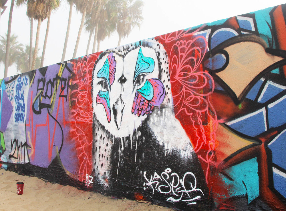 Owl Piece painted at Venice Beach Legal walls